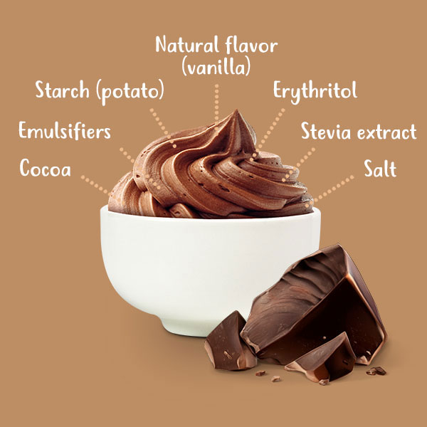 Cocoa, emulsifiers, potato starch, natural flavor, stevia blend, salt