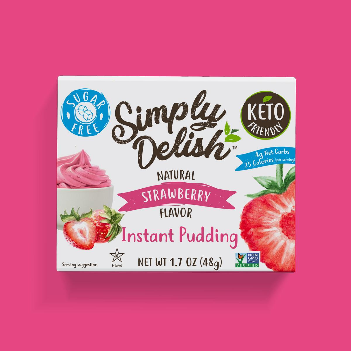 Simply Delish Keto Friendly vegan Strawberry Pudding