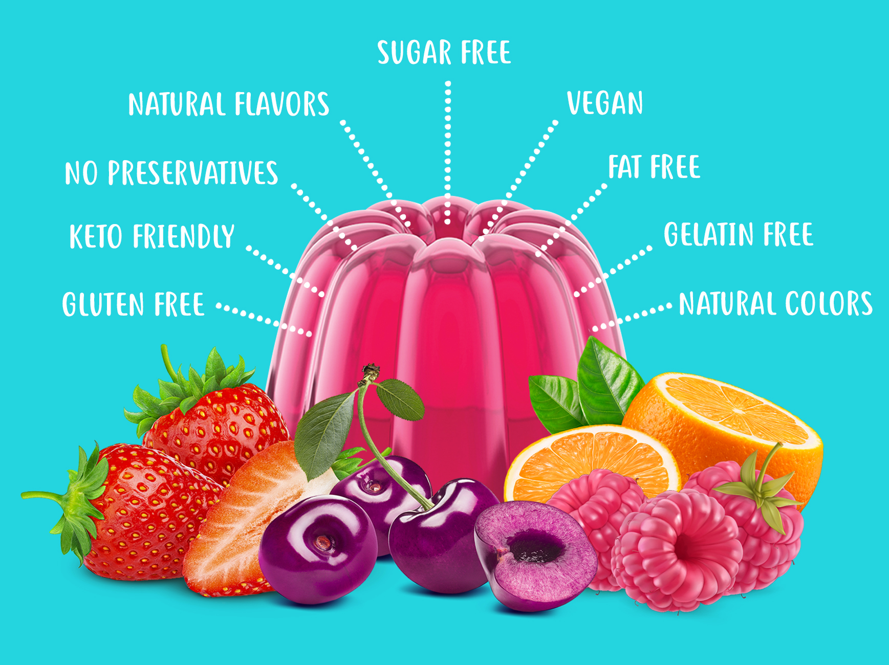 Gluten Free, Keto Friendly, No Preservatives, Natural Flavors, Natural Colors, Sugar Free, Vegan, Fat Free, Gelatin Free