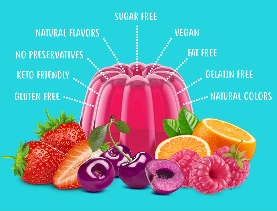 Gluten Free, Keto, Sugar Free, Natural Colors and Flavors, Vegan, Fat Free