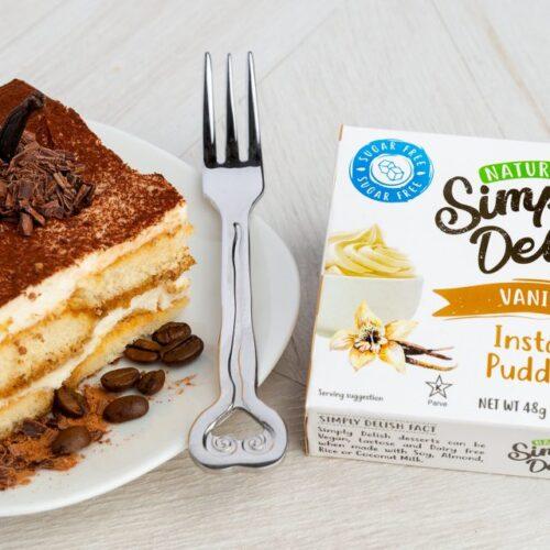 Sugar Free Vegan Tiramisu using Simply Delish Vanilla Pudding