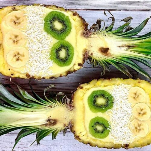 pineapple halves full of simply delish pudding