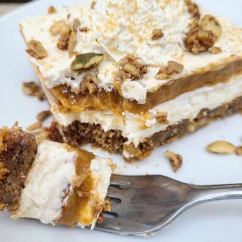 layered pumpkin dessert simply delish instant vanilla pudding with fork