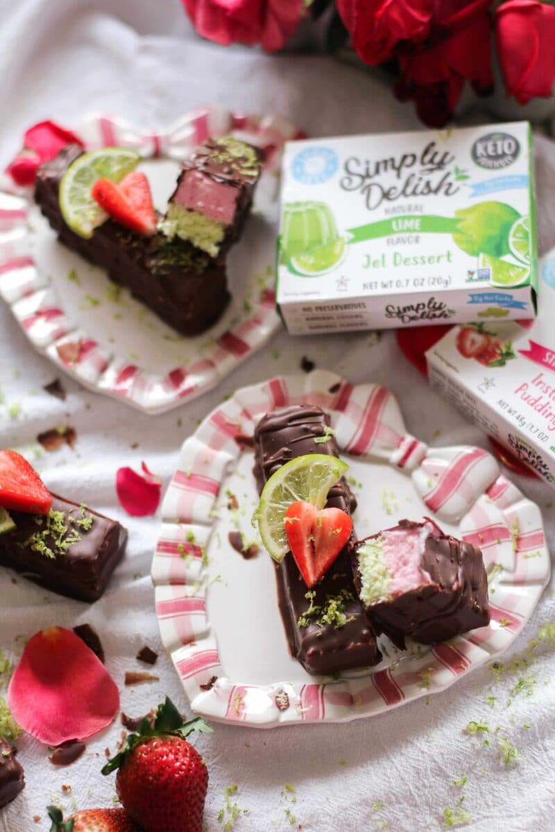sugar-free strawberry lime chocolate pudding bar