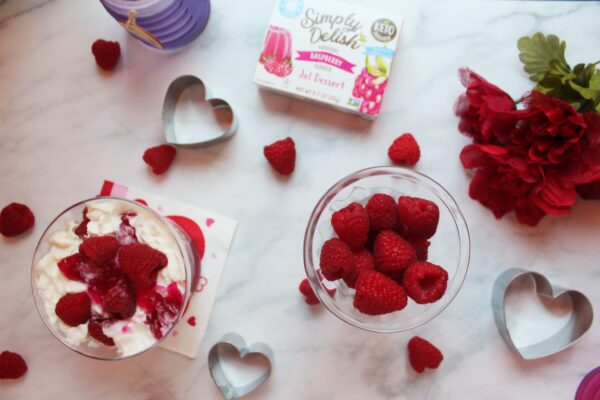 sugar-free raspberry jel parfait
