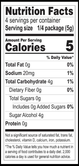 Raspberry Jel nutritionals