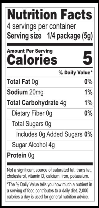 Strawberry Jel nutritionals