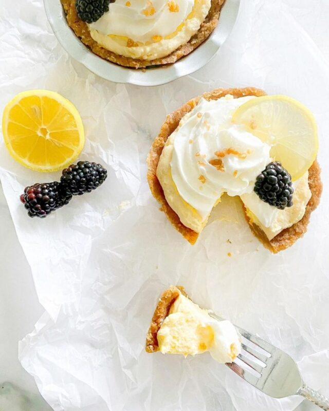 Mini Keto Lemon Cream Pies - top